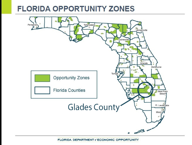 Florida Opportunity Zones map with Glades County highlighted