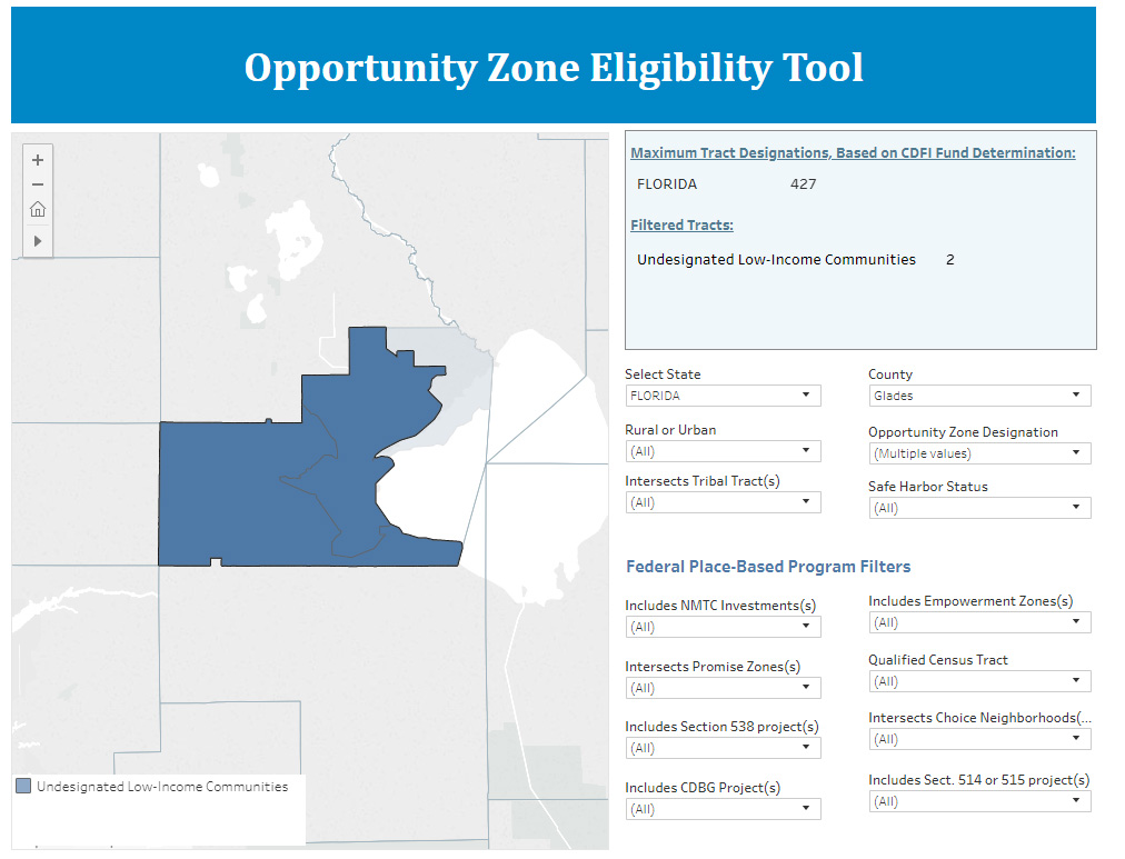 Screenshot of opportunity zone eligibility tool